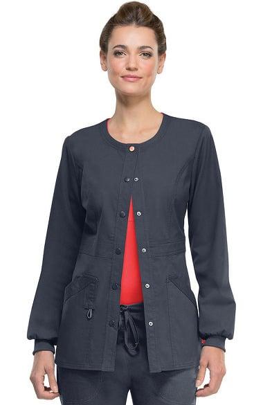 code happy Women's Round Neck Warm Up Scrub Jacket ...