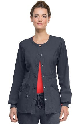 Clearance code happy Women's Round Neck Warm Up Scrub Jacket