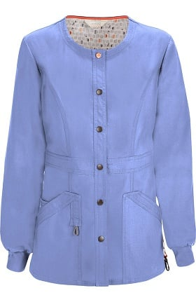 Clearance code happy Women's Round Neck Warm Up Scrub Jacket