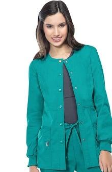 code happy Women's Round Neck Warm Up Scrub Jacket