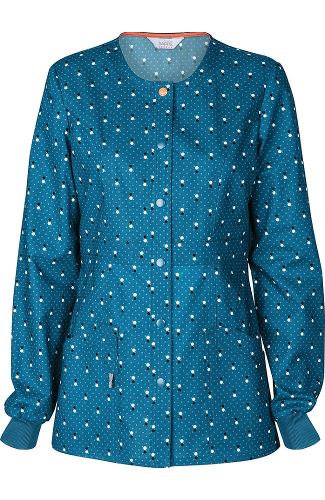 code happy Women's Snap Front Dot Print Warm Up Scrub ...