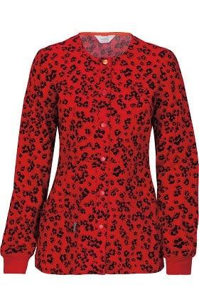 code happy Women's Snap Front Leopard Print Warm Up Scrub Jacket