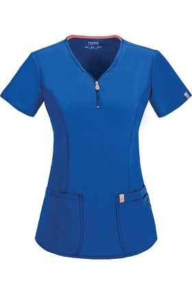 code happy Women's Zip V-Neck Solid Scrub Top