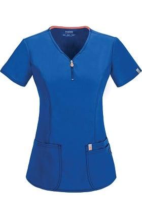 Clearance code happy Women's Zip V-Neck Solid Scrub Top