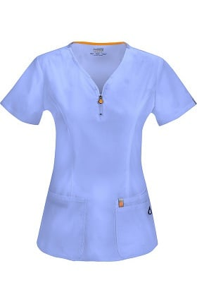 Clearance code happy Women's Zipper V-Neck Solid Scrub Top