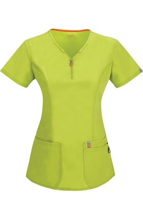 Clearance code happy Women's Zipper V-Neck Solid Scrub Top