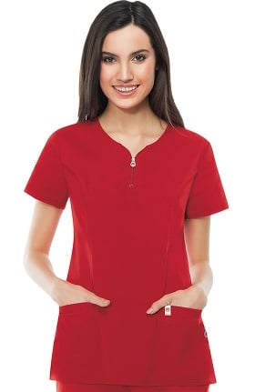 code happy Women's Zipper V-Neck Solid Scrub Top