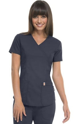 code happy Women's Mock Wrap Solid Scrub Top