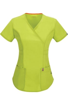 Clearance code happy Women's Princess Seam Mock Wrap Scrub Top