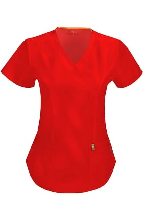 code happy Women's Princess Seam Mock Wrap Scrub Top