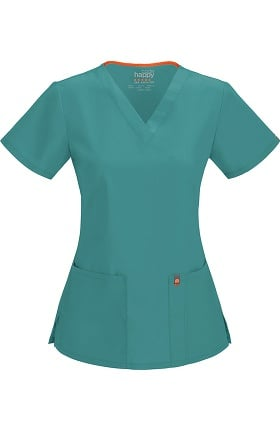 code happy Women's Princess Seam V-Neck Solid Scrub Top