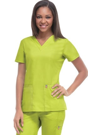 Clearance code happy Women's Princess Seam V-Neck Solid Scrub Top