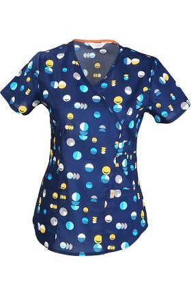 Clearance code happy Women's V-Neck Dot Print Scrub Top