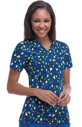 Clearance code happy Women's V-Neck Animal Print Scrub Top