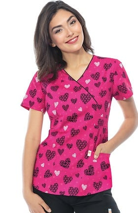 Clearance code happy Women's Mock Wrap Heart Print Scrub Top