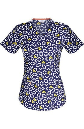 Clearance code happy Women's Mock Wrap Mod Floral Print Scrub Top