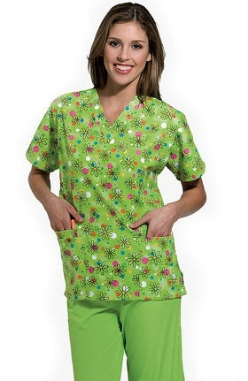 Clearance Scrub H.Q. by Cherokee Women's V-Neck 2 Pocket Boba Print Scrub Top