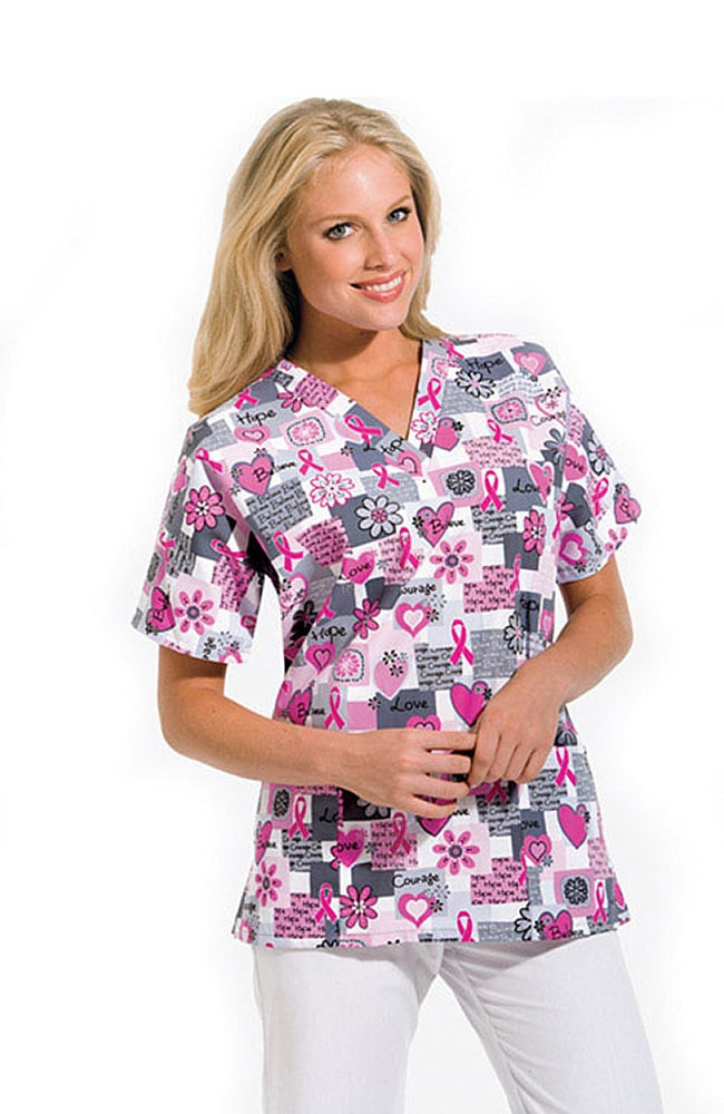 295eb1fdf1c BUD Butterfly Dots. Scrub H.Q. by Cherokee Women's Discount V-Neck 2-Pocket  Tunic Style Breast Cancer