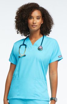Cherokee Workwear Originals Women's V-Neck 2 Pocket Solid Scrub Top