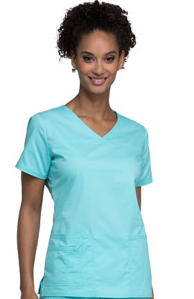 Clearance Core Stretch by Cherokee Workwear Women's V-Neck Yoke Solid Scrub Top