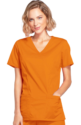 Clearance Core Stretch by Cherokee Workwear Women's Mock Wrap Princess Seam Solid Scrub Top