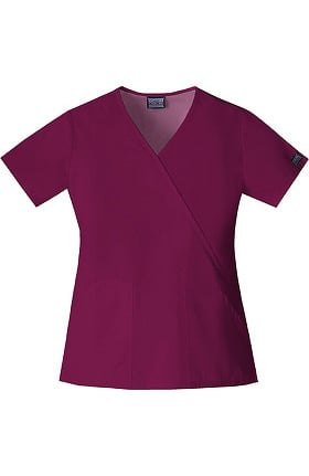 Clearance Cherokee Workwear Originals Women's Mock Wrap Solid Scrub Top