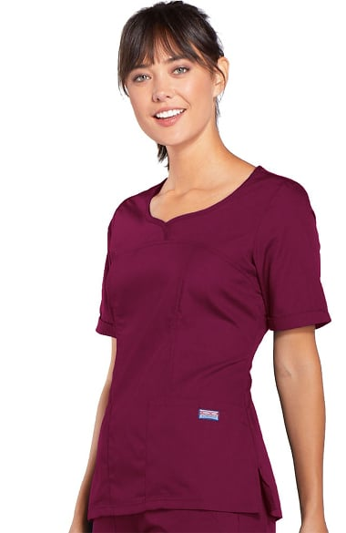 Cherokee Workwear Scrubs Women's V Neck Scrub Top 4746 Ceil Blue CIEW Uniforms & Work Clothing Tops