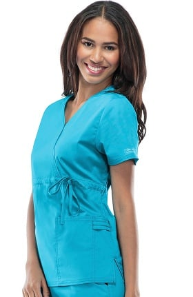 Core Stretch by Cherokee Workwear Women's Mock Wrap Solid Scrub Top