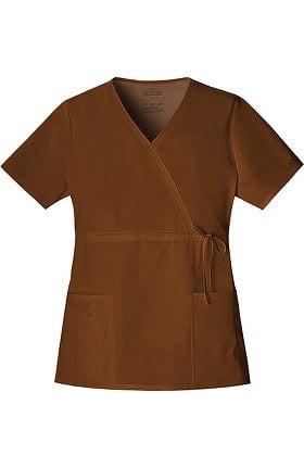 Clearance Core Stretch by Cherokee Workwear Women's Mock Wrap Solid Scrub Top