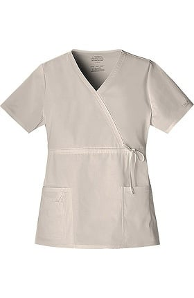 Clearance Core Stretch by Cherokee Workwear Women's Mock Wrap Solid Scrub Top