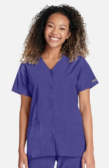 Cherokee Workwear Originals Women s Snap Front 2-Pocket Solid Scrub Top edfba09dc6daa