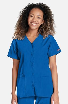 Cherokee Workwear Originals Women's Snap Front 2-Pocket Solid Scrub Top