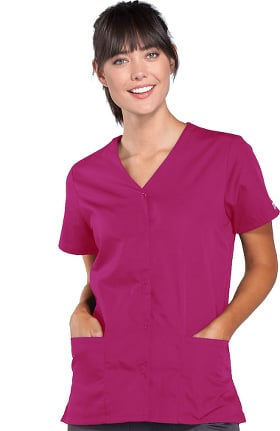 Clearance Cherokee Workwear Originals Women's Snap Front 2-Pocket Solid Scrub Top
