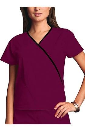 Clearance Cherokee Workwear Originals Women's Mini Wrap Contrast Solid Scrub Top