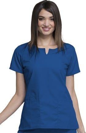 Clearance Cherokee Workwear Originals Women's Round Neck Solid Scrub Top