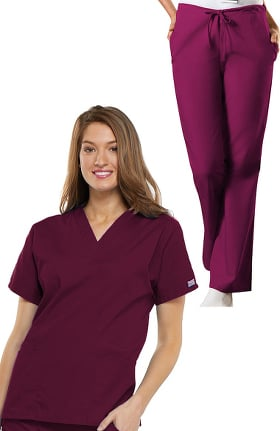 Cherokee Workwear Originals Women's V-Neck Scrub Top & Drawstring Pant Set