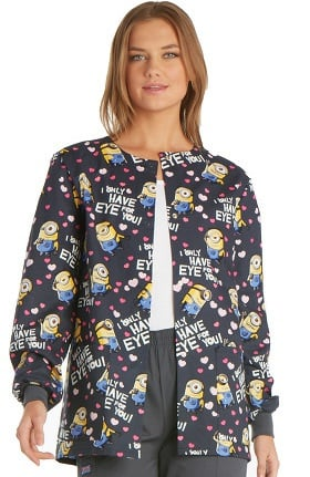 Clearance Tooniforms by Cherokee Women's Crew Neck Warm-Up Minion Print Scrub Jacket