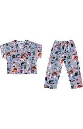 Tooniforms by Cherokee Kid's Unisex Toy Fixer Print Scrub Set