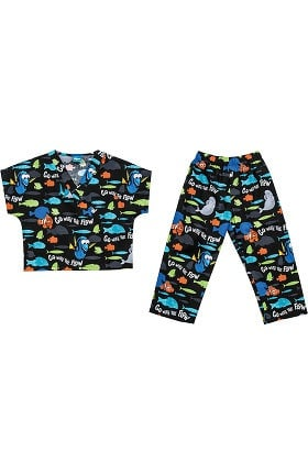 Tooniforms by Cherokee Kid's Unisex Finding Nemo Print Scrub Set