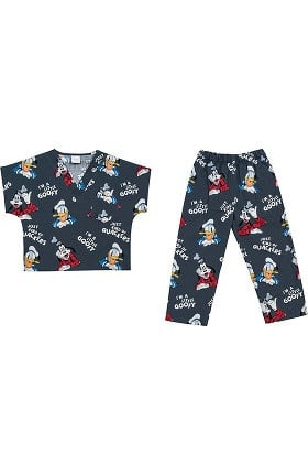 Clearance Tooniforms by Cherokee Kid's Unisex Donald Duck Print Scrub Set