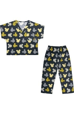 Clearance Tooniforms by Cherokee Unisex Kid's Mickey Mouse Print Scrub Set