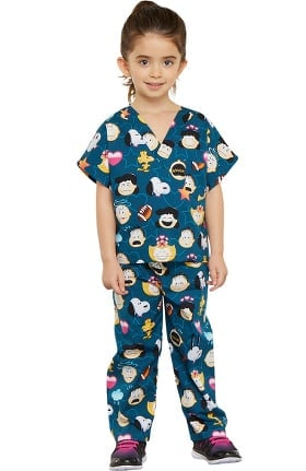 Clearance Tooniforms by Cherokee Kid's Unisex Peanuts Print Scrub Set