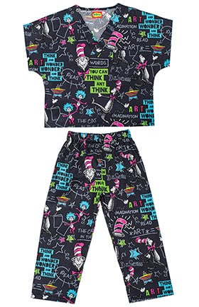 Tooniforms by Cherokee Kid's Unisex Dr.Seuss Print Scrub Set