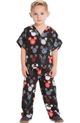 Tooniforms by Cherokee Unisex Kids That's Snow Mickey Print Scrub Set