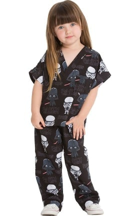 Tooniforms by Cherokee Unisex Kids Pop Galaxy Print Scrub Set