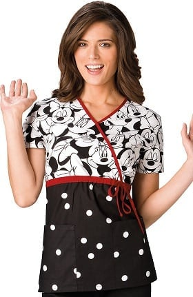 Tooniforms by Cherokee Women's Mock Wrap Minnie Mouse  Print Scrub Top