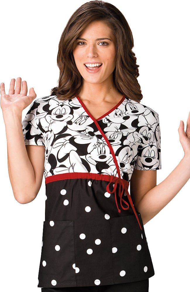 Tooniforms Black and White Mock Wrap Minnie Mouse Print Scrub Top