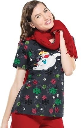Clearance Tooniforms by Cherokee Women's V-Neck Frosty The Snowman Print Scrub Top