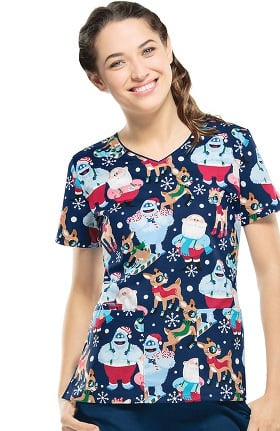 Tooniforms by Cherokee Women's V-Neck Rudolph Print Scrub Top