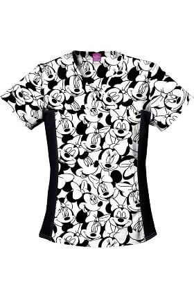 Tooniforms by Cherokee Women's Minnie Mouse Print Scrub Top